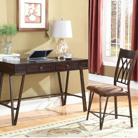 2-Pc Brushed Pecan Wood/Antique Brass Metal Desk & Chair Set