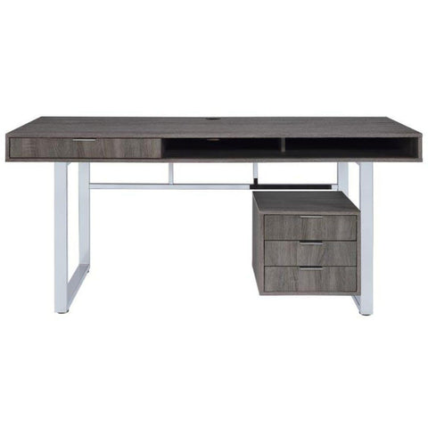 Weathered Grey Writing Desk, Desk, Coaster Furniture - Adams Furniture