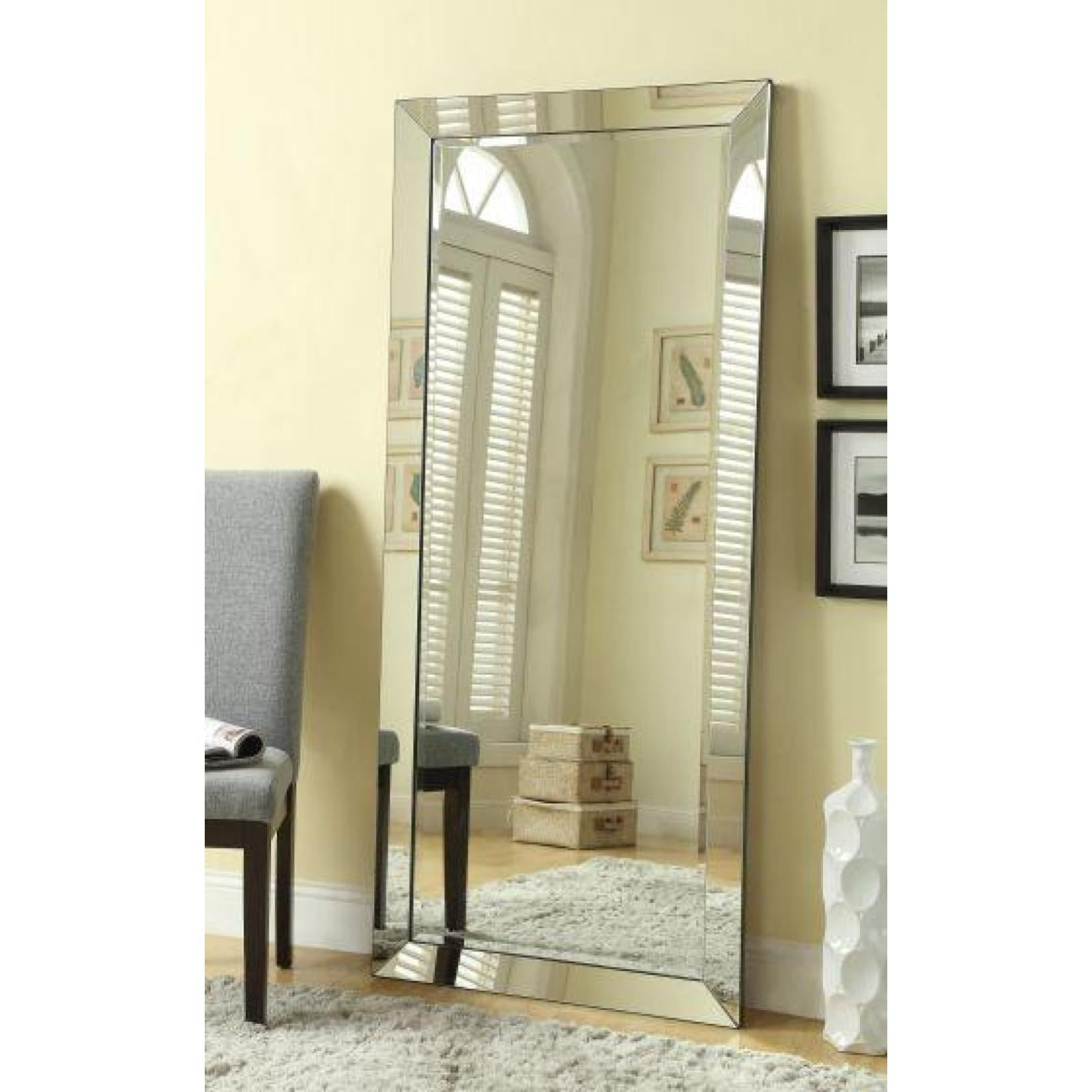 Contemporary Floor Mirror with Mirrored Frame – Adams Furniture