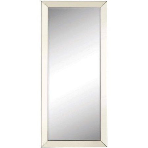 Contemporary Floor Mirror with Mirrored Frame, Mirror - Adams Furniture