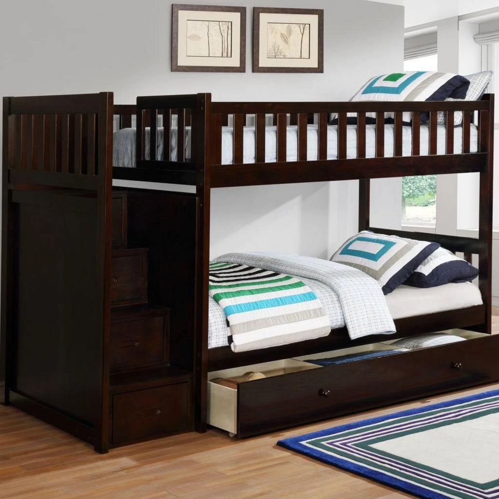 Harper - Espresso Twin/Twin Staircase Bunk Bed, Bunk Bed, Lifestyle Furniture - Adams Furniture