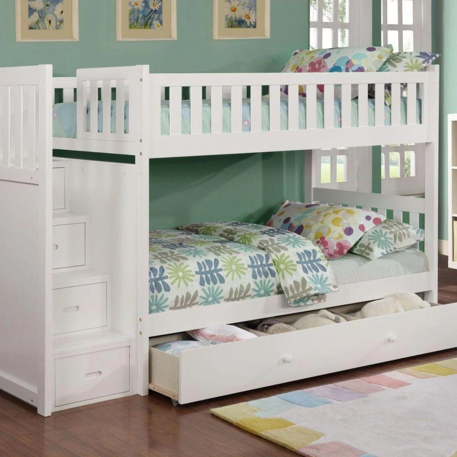 Picture of: Harper White Twin Twin Staircase Bunk Bed Adams Furniture