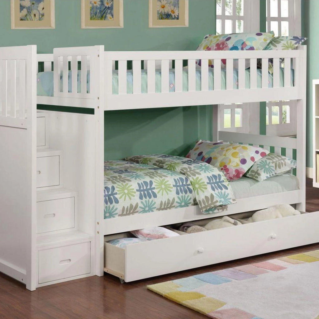 Harper - White Twin/Twin Staircase Bunk Bed, Bunk Bed, Lifestyle Furniture - Adams Furniture