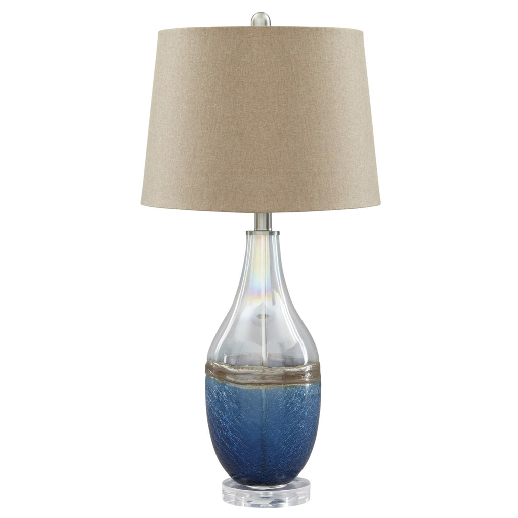 Johanna Blue/Clear Glass Table Lamp | Set of 2, Lamp - Adams Furniture