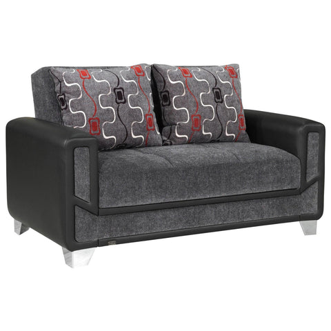 Mondo Grey Convertible Loveseat, Loveseat, Rugnur - Adams Furniture