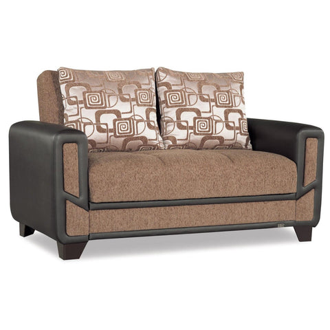 Mondo Brown Convertible Loveseat, Loveseat, Rugnur - Adams Furniture