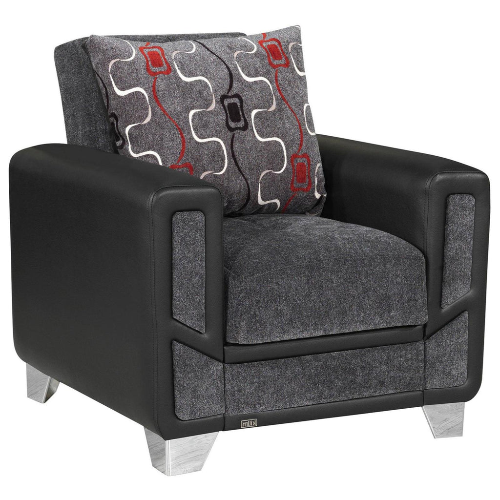 Mondo Grey Convertible Chair, Accent Chair, Rugnur - Adams Furniture