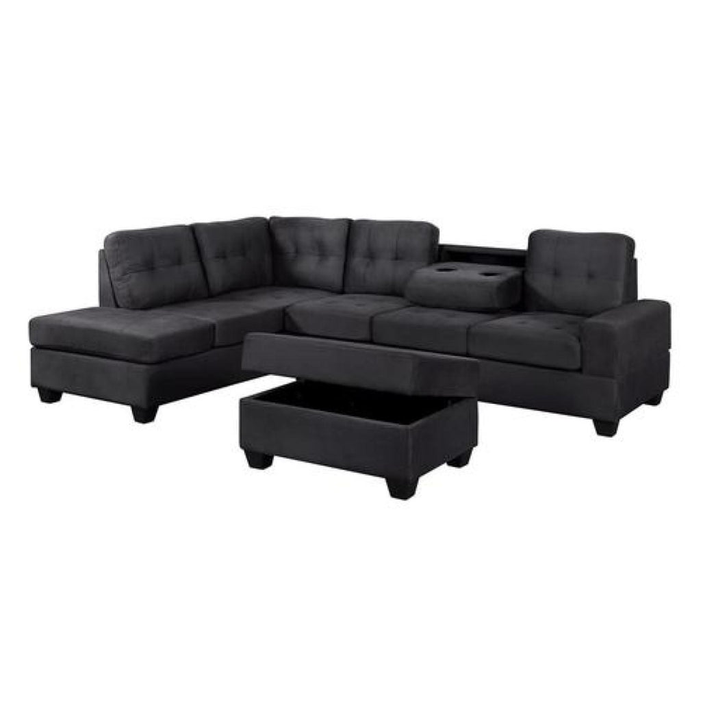 Theron Black Reversible Sectional w/ Ottoman