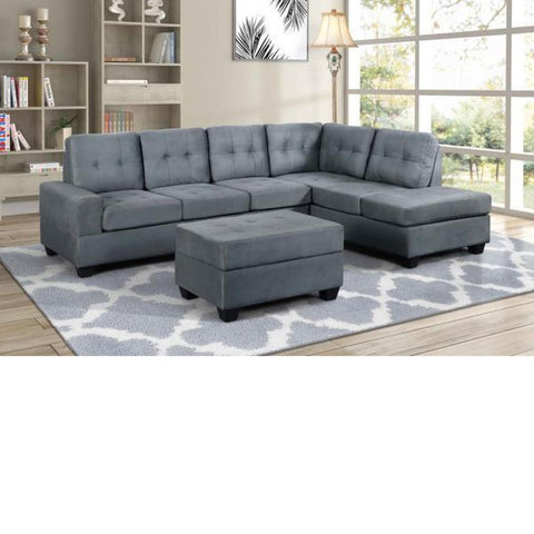 Theron Grey Reversible Sectional w/ Ottoman