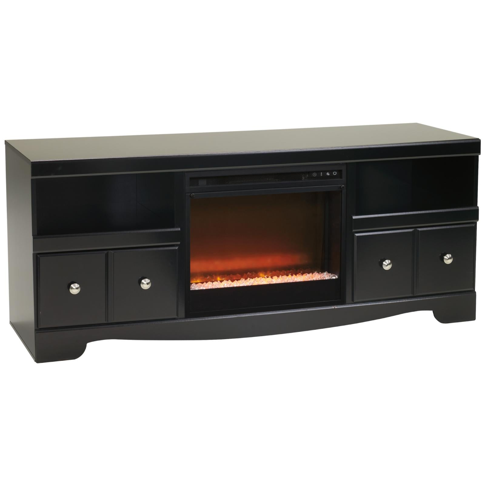 Shay Black Glass Stone Fireplace Tv Stand Adams Furniture