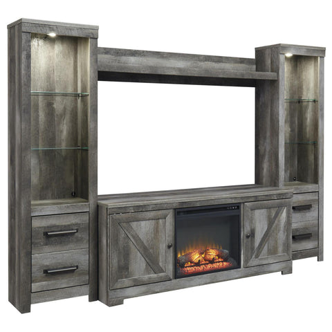Wynnlow 4 Pice Entertainment Center with Fireplace, TV Stand, Ashley Furniture - Adams Furniture