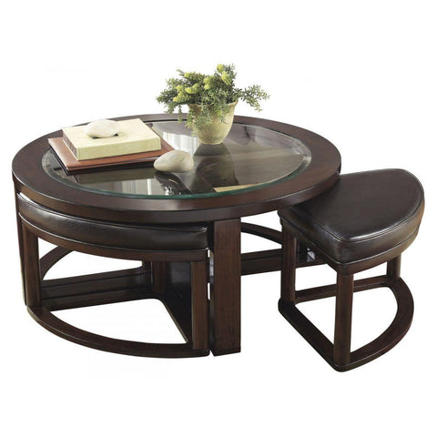 Marion Round Coffee Table with 4 Stools, Occasional Tables, Ashley Furniture - Adams Furniture