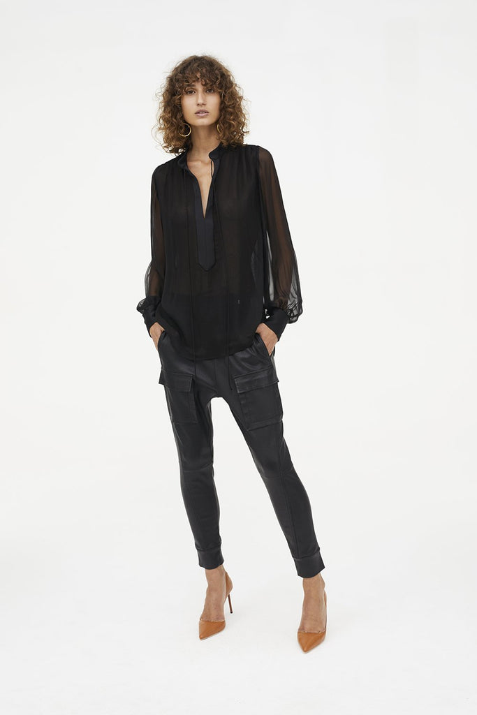Open Season Stretch Leather Pant - Black