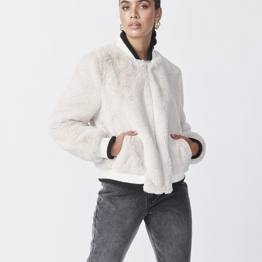 Essential Faux Fur Bomber Jacket - Bone
