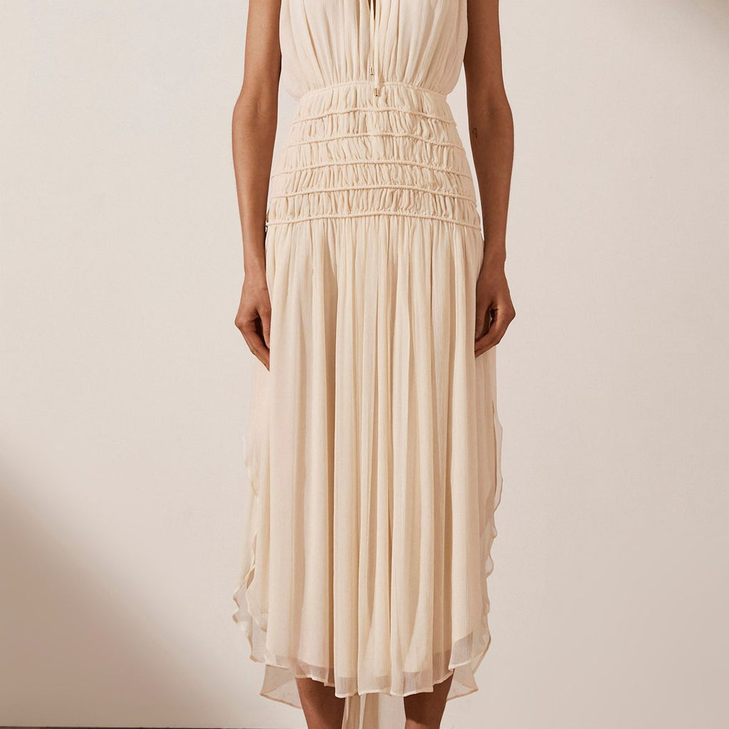 Delphine Sleeveless Corded Midi Dress