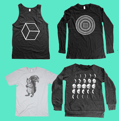 organic tshirts, tank tops and longsleeve