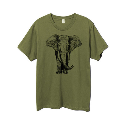 Mens Army Green Elephant Tshirt