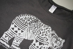 Womens Grey Tribal Bear Tshirt