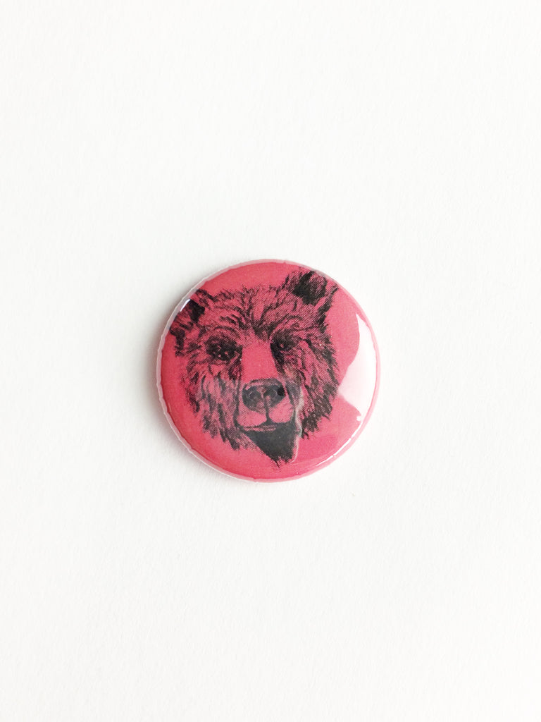 bear face pin back button