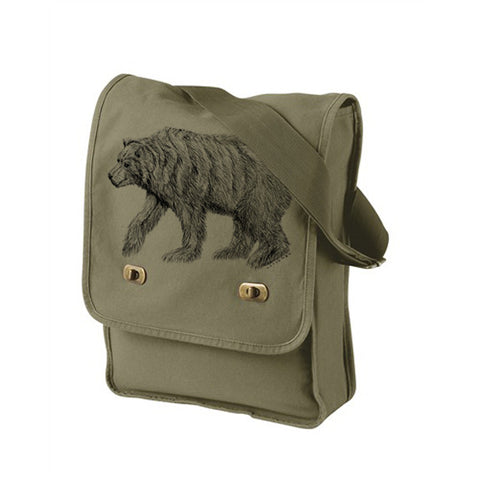 Army Green California Bear Messenger Bag