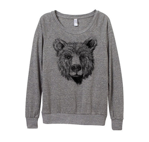 Womens Heather Grey Bear Top