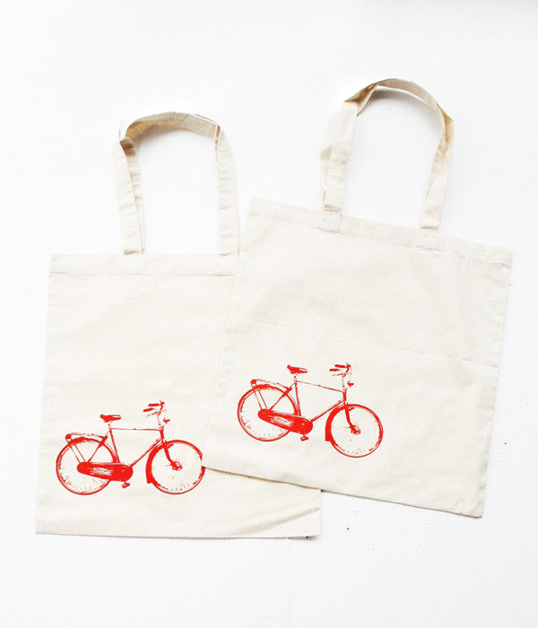 Pair of Red Bike Tote Bags
