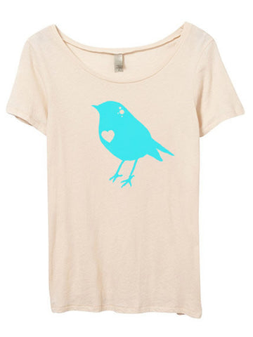 Blue Bird Scoop Neck Tshirt
