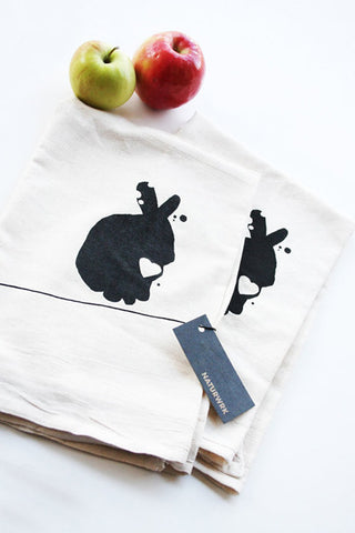 Rabbit Tea Towel Pair