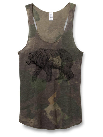 Womens Camo Bear Tank Top