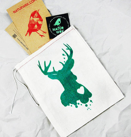 Green Deer Reusable Gift Bag