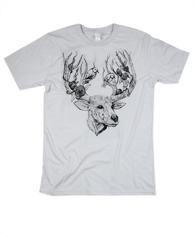 Womens Silver Deer & Bird Tshirt