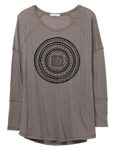 Womens Long Sleeve Gauze Mandala Shirt