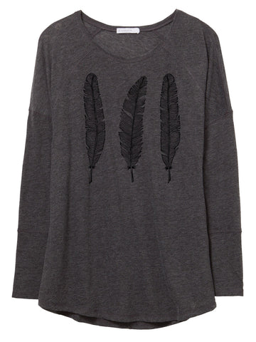 Womens Long Sleeve Gauze Feathers Shirt