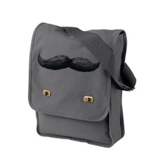 Mustache Grey Messenger Bag