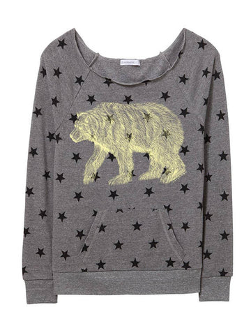 Womens Bear Pocket Star Sweater