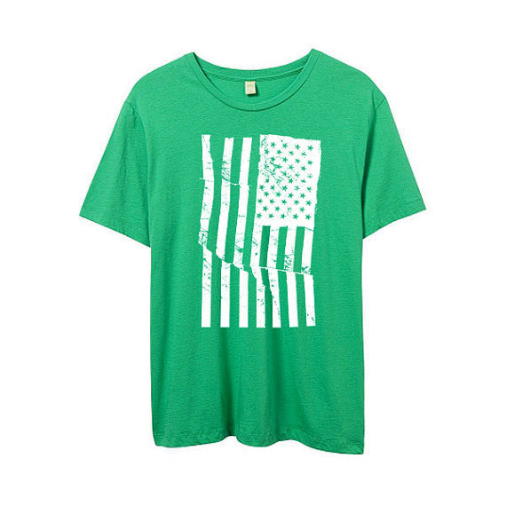 Men's Grass Green American Flag Tshirt