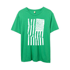 Mens Grass Green American Flag Tshirt