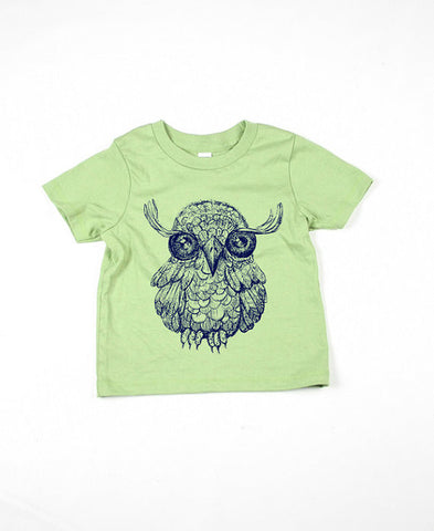 Kids Green Owl Tshirt
