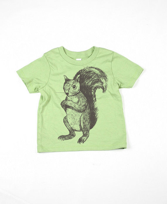 Kids Green Squirrel Tshirt