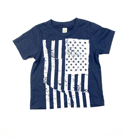 Kids Navy Blue American Flag Tshirt
