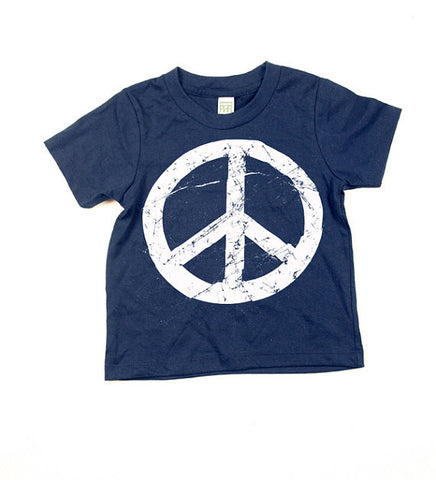 Kids Navy Blue Peace Sign Tshirt