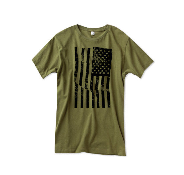Mens Army Green American Flag Tshirt