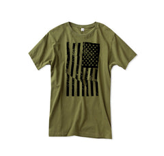 Men's Army Green American Flag Tshirt