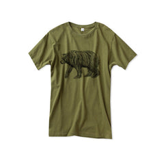 Mens Army Green California Bear Tshirt