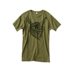 Mens Army Green Wise Owl Tshirt