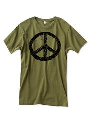 Mens Army Green Peace Sign Tshirt