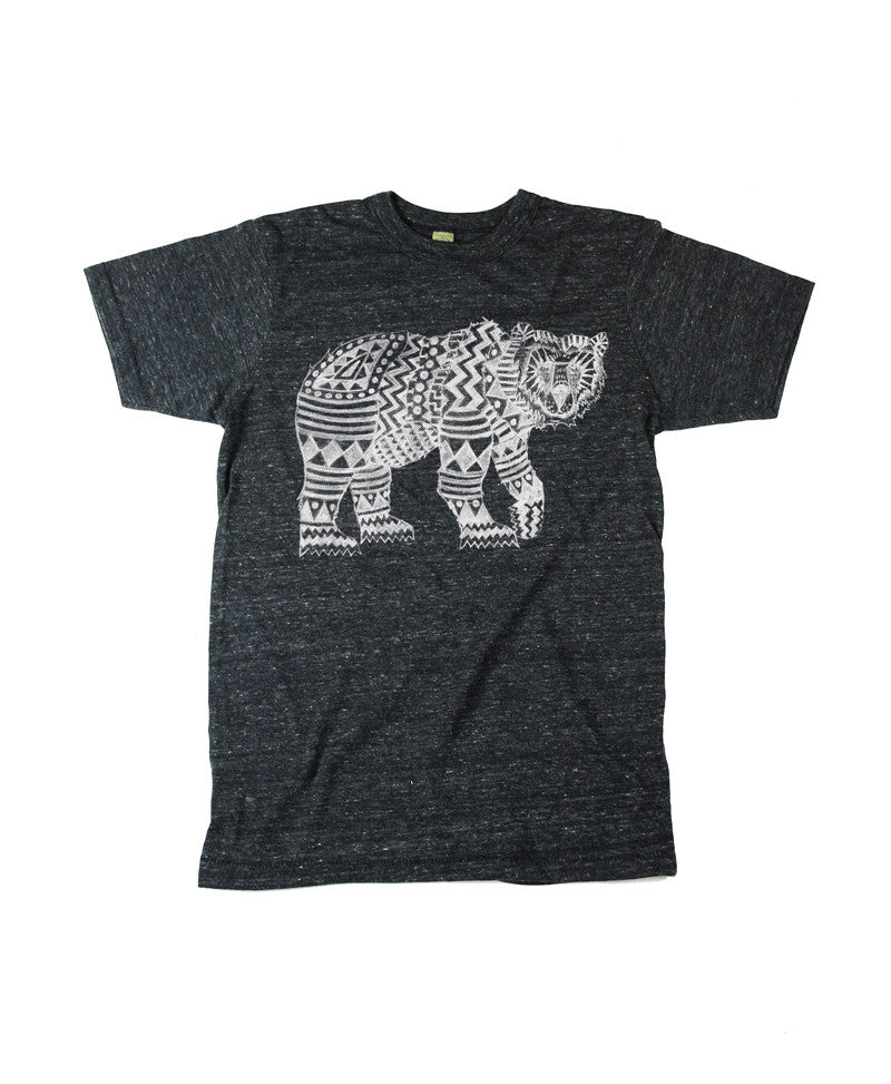 Men's Eco-Heather Black Tribal Bear Tshirt