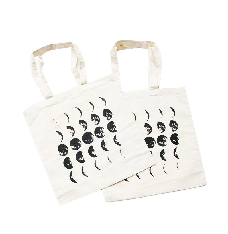 Pair of Moon Phases Tote Bags