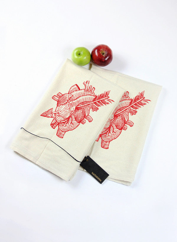 Pair of Heart & Arrow Tea Towels