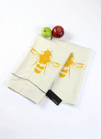Pair of Yellow Bee Tea Towels